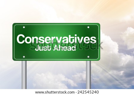 Conservatives Green Road Sign, business concept - stock photo