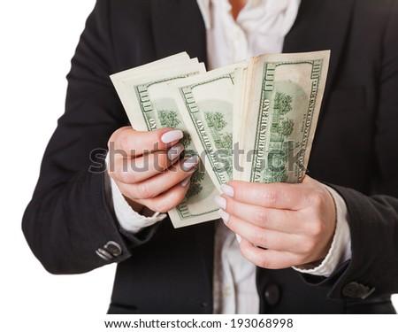 considers money isolated on white background - stock photo