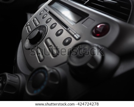 Console and control panel audio is technology in car - stock photo