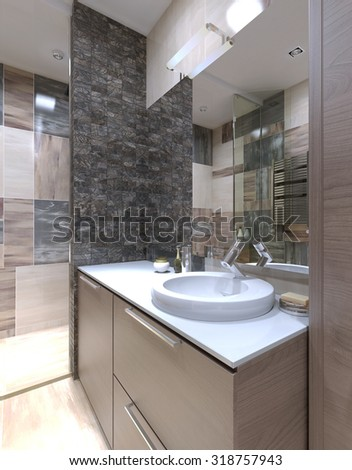 Console with sink in the bathroom in minimalist style. White acrylic countertop. 3D render