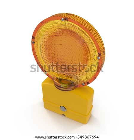 Conspicuous yellow warning road flashlight. Bypass, work, accidents or other used to indicate danger. Isolated on white. 3D illustration