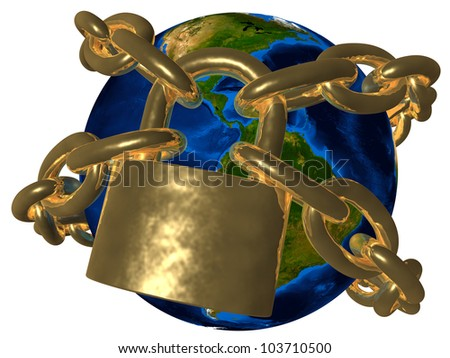 Conspiracy theories - Earth in golden chain - America Elements of this image furnished by NASA - stock photo