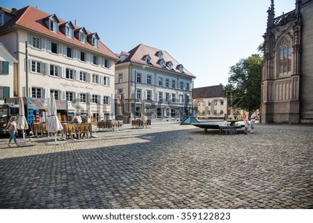 CONSTANCE, GERMANY - JULY 17 2015: Historical Houses and landmarks in Constance in Baden Wurttemberg, Germany