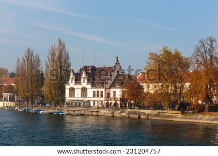 CONSTANCE, GERMANY - NOVEMBER 02 2014: Historical Houses in Constance in Baden Wurttemberg, Germany at Lake Constance