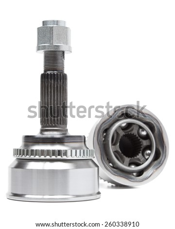 constant velocity joint on a white background. car parts chassis - stock photo