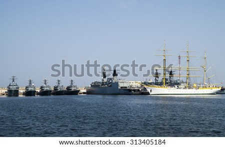 CONSTANTA, ROMANIA  - AUGUST 8, 2015 . Brice Mircea Romanian Military Navy School Ship  docked in commercial port quay of Constanta, the largest on the Black Sea .