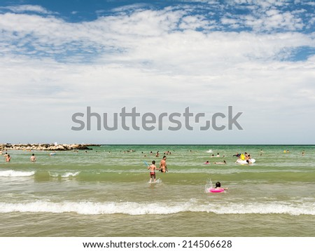 CONSTANTA, ROMANIA - AUGUST 01, 2014: People Having Fun In Water On Constanta Beach At The Black Sea.