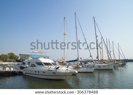 CONSTANTA, ROMANIA - JULY  15, 2015.  Modern yachts and boats in  Touristic Tomis Port at The Black Sea in Constanta, Romania.