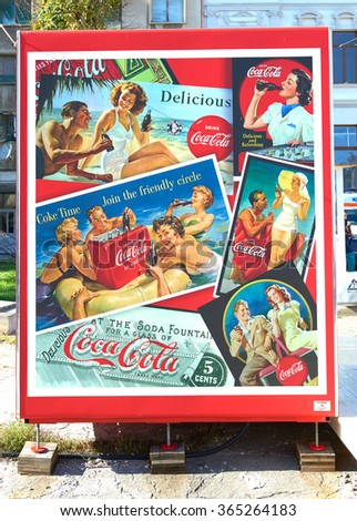 CONSTANTA, ROMANIA - OCTOBER 25, 2015: Billboard in the heart of Constanta in Romania with the company's advertising products Coca Colla