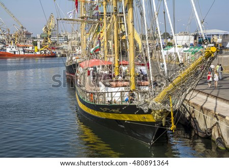 CONSTANTA, ROMANIA - SEPTEMBER 8, 2016. Sailing vessel from six countries at  Black Sea Tall Ships Regatta 2016 in Constanta harbor .Royal Helena ship from Bulgaria.