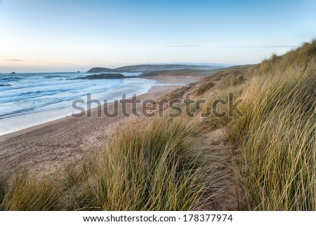 Constantine Bay looking towards Booby's Bay and Trevose Head near Padstow on the Atlantic coast of Cornwall - stock photo