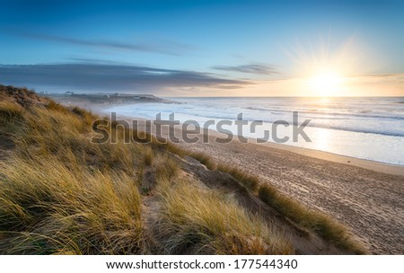 Constantine Bay on the Atlantic coast of Cornwall - stock photo