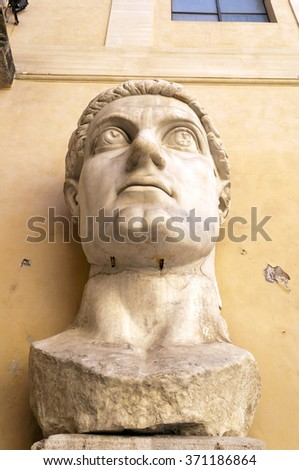 Constantine's Head, Musei Capitoli, Rome, Italy.  This is part of what was once a giant marble sculpture of Emperor Constantine.