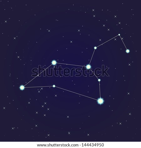 Constellation of leo on night starry sky