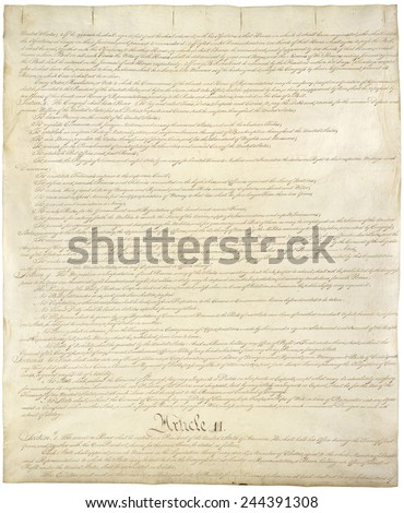 Constitution of the United States of America. Second of four pages of the National Archives copy created in the Constitutional Convention in 1787. - stock photo