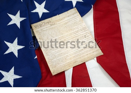 Constitution on American Flag, Horizontal