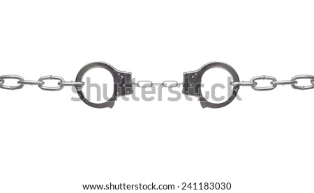 Constrained.  --  Handcuffs stretched by heavy chains - isolated. - stock photo