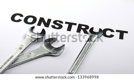 construct or construction concept with tool and word