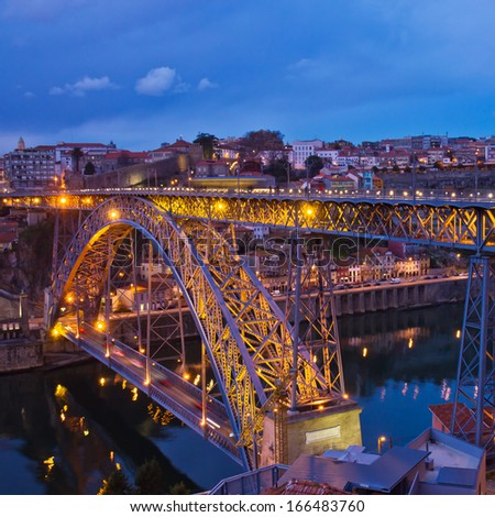 constructed in 1886 bridge of Dom Luis I in old Porto, Portugal - stock photo