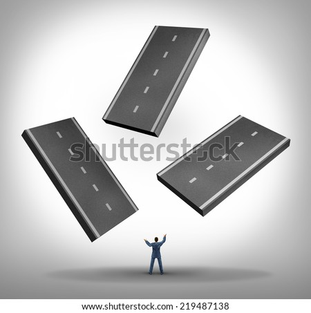 Constructing a path business concept as a businessman juggling pieces of three dimensional road as a symbol for planning a journey for success by building a pathway or travel and transportation icon. - stock photo