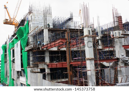 Construction a building in urban - stock photo