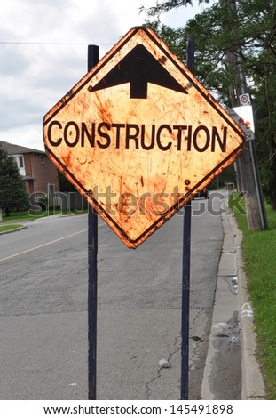 Construction ahead signage - stock photo