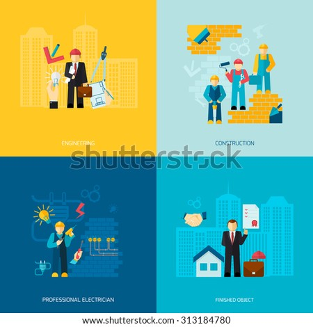 Construction and building professions flat set with engineering professional electrician works finished object isolated  illustration - stock photo