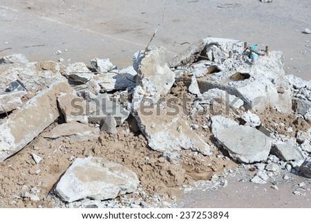 construction and demolition debris at construction site - stock photo
