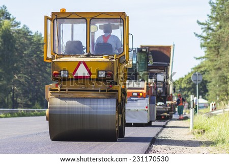 Construction and repair of highway - stock photo