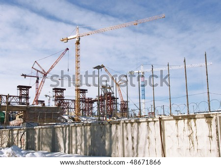 Construction area with cranes