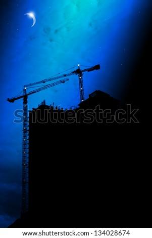 construction at night - stock photo