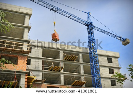 Construction building with crane