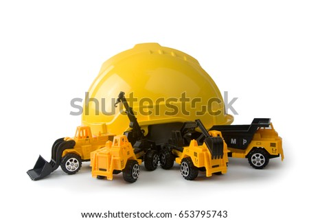 construction cars with safety cap isolated