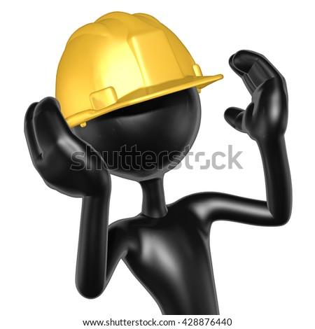 Construction Character 3D Illustration - stock photo
