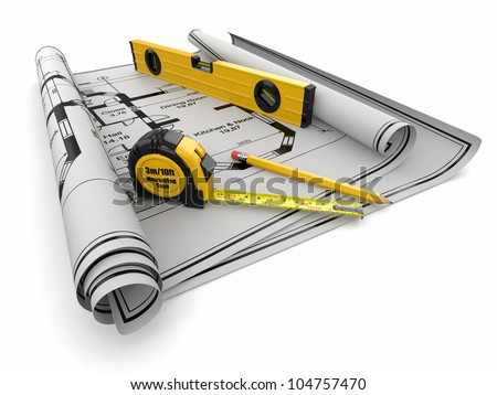 Construction Concept. Blueprint, level and rulers. 3d - stock photo