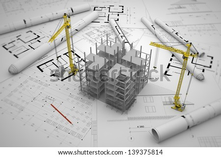 construction concept: drawings, building - stock photo