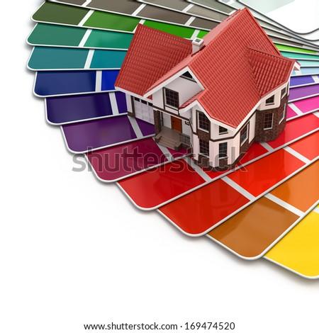 Construction concept. House and color palette. 3d - stock photo