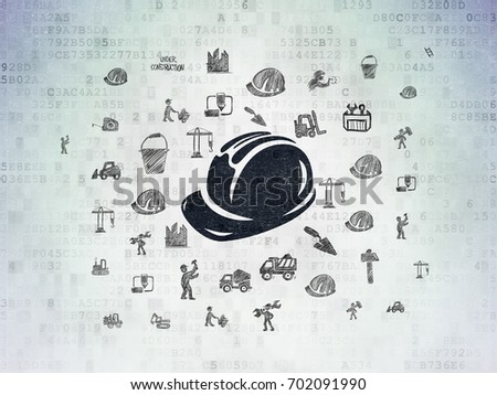 Construction concept: Painted black Safety Helmet icon on Digital Data Paper background with  Hand Drawn Building Icons