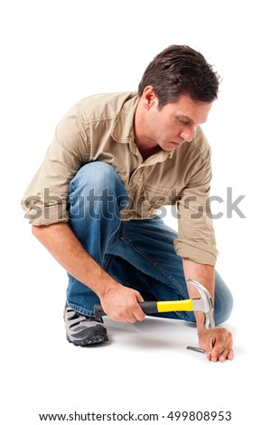 Construction Contractor Carpenter with Hammer on White