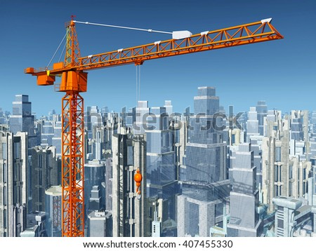 Construction crane Computer generated 3D illustration - stock photo