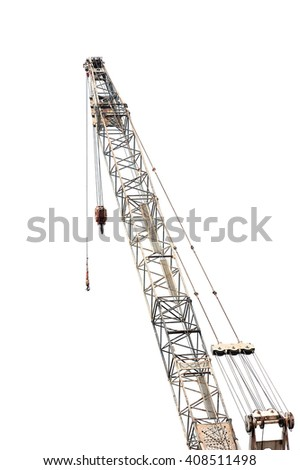 Construction crane for heavy lifting isolated on white background - stock photo