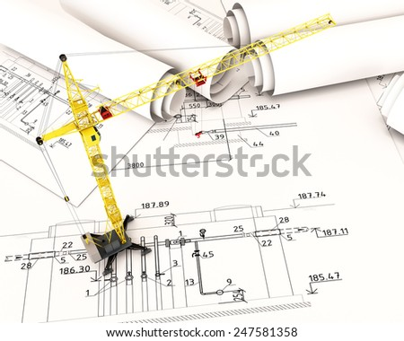 Construction crane in the drawings. 3d plan drawing. 3d render image. - stock photo