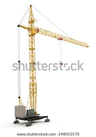 Construction crane isolated on white. 3d render image. - stock photo