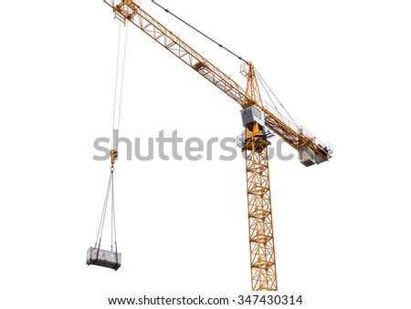 Construction crane isolated on withe background - stock photo