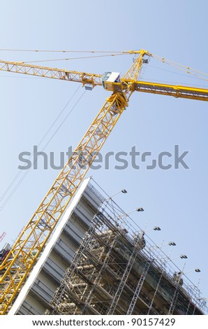 Construction crane on the site