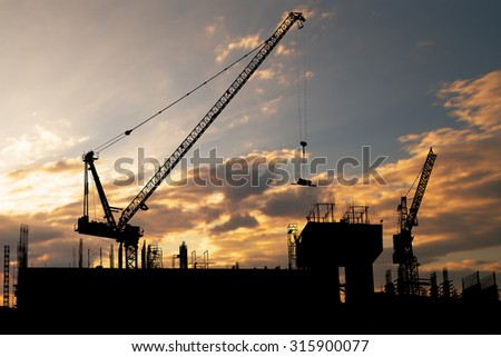Construction crane on tower