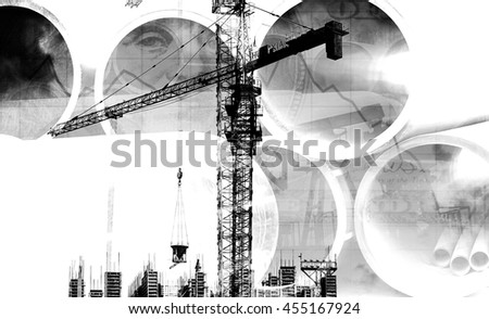 Construction crane, the object and pipe (double exposure, black-and-white photo)