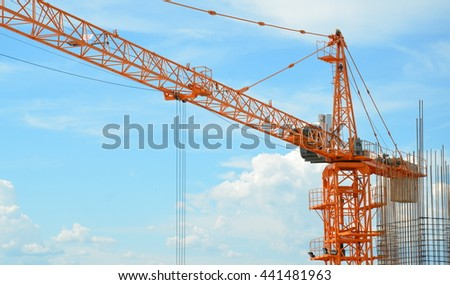 Construction crane working on site