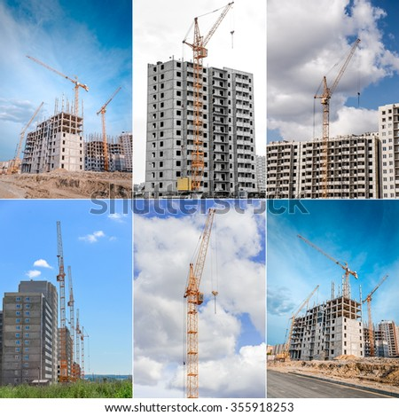 Construction cranes and building of houses. Collage.