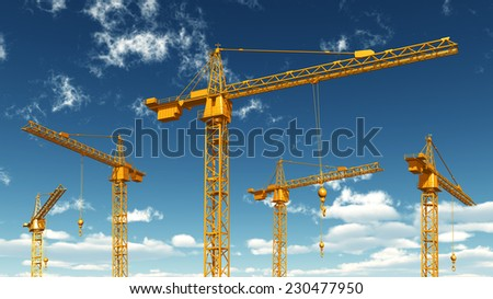 Construction Cranes Computer generated 3D illustration - stock photo